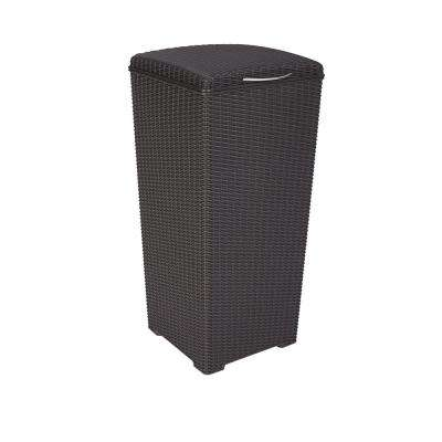 Brown Wicker Style Plastic Trash Can