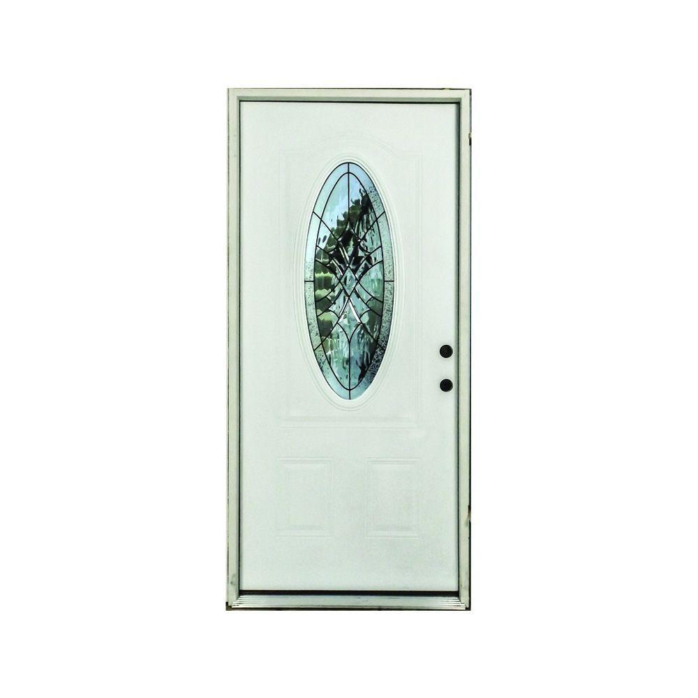 36 in. x 80 in. Webville 3/4 Oval Lite Primed White Fiberglass Prehung Front Door