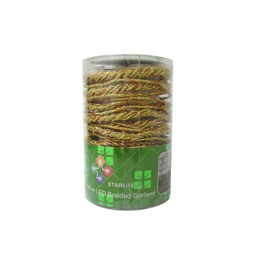 null 9 ft. LED Gold Battery Operated Multi Braided Garland