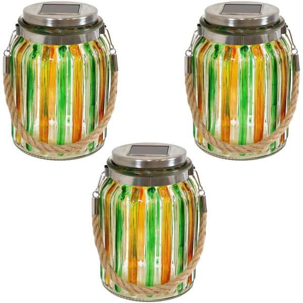 Solar Green and Yellow Glass Jar Integrated LED Lantern Landscape Pathway Light with White String Lights (3-Pack)