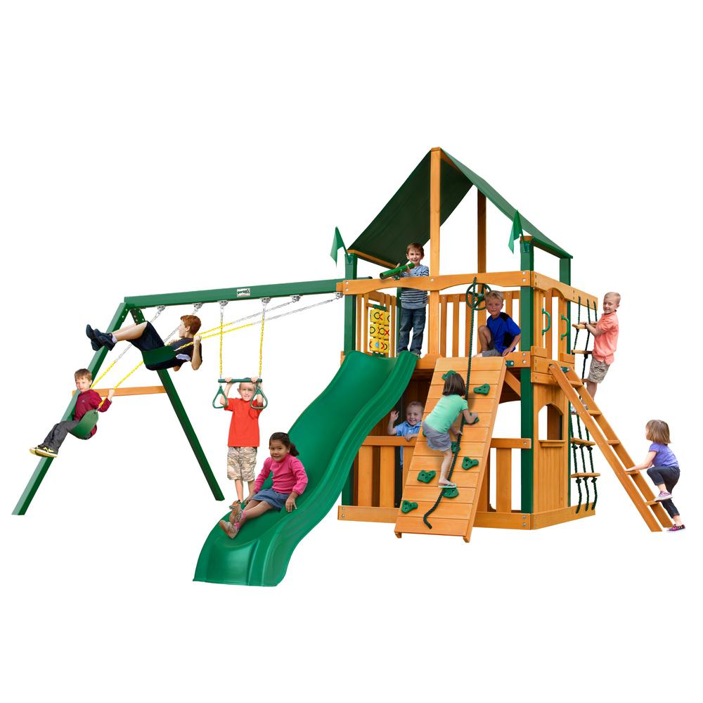 Gorilla Playsets Chateau Clubhouse Wooden Swing Set with Timber Shield Posts, Sunbrella® Canvas Canopy and Rock Wall