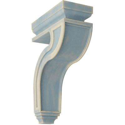 4 in. x 13 in. x 8-1/2 in. Driftwood Blue Hollow Back Wood Vintage Decor Corbel