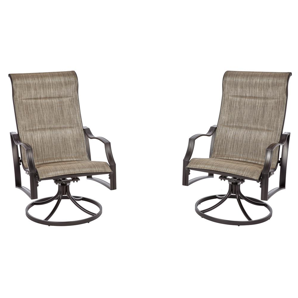 Astounding Hampton Bay Statesville Pewter Swivel Aluminum Sling Outdoor Lounge Chair 2 Pack Inzonedesignstudio Interior Chair Design Inzonedesignstudiocom
