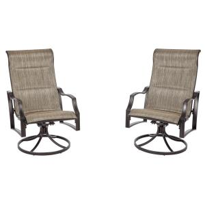 Hampton Bay Statesville Pewter Swivel Aluminum Sling Outdoor Lounge Chair (2-Pack) by Hampton Bay
