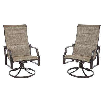 Statesville Pewter Swivel Aluminum Sling Outdoor Lounge Chair (2-Pack)