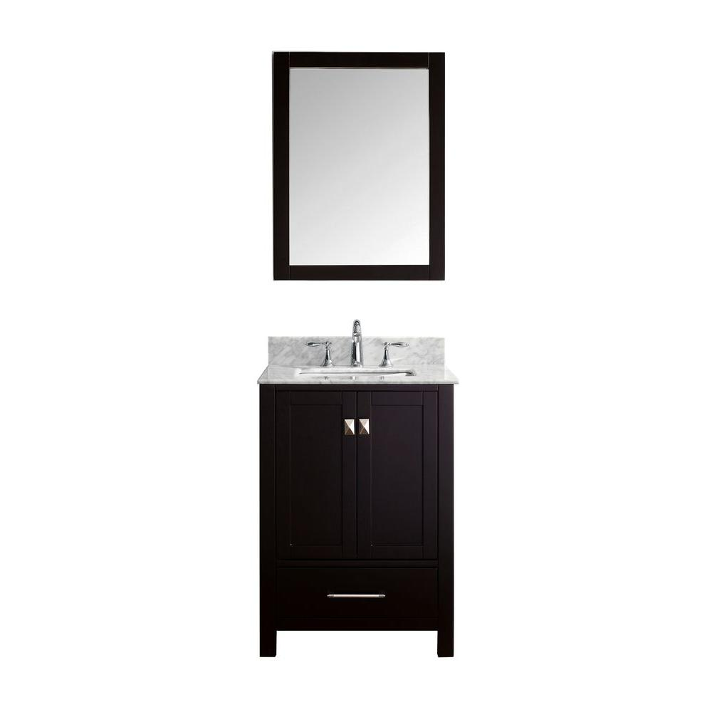 Virtu USA Caroline Avenue 24 in. W x 36 in. H Vanity with Marble Vanity Top in Carrara White with White Basin and Mirror