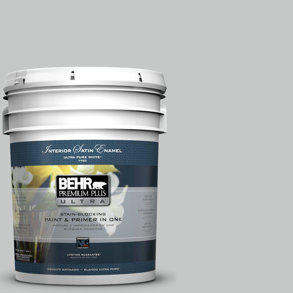 5-gal. #BNC-07 Frosted Silver Satin Enamel Interior Paint