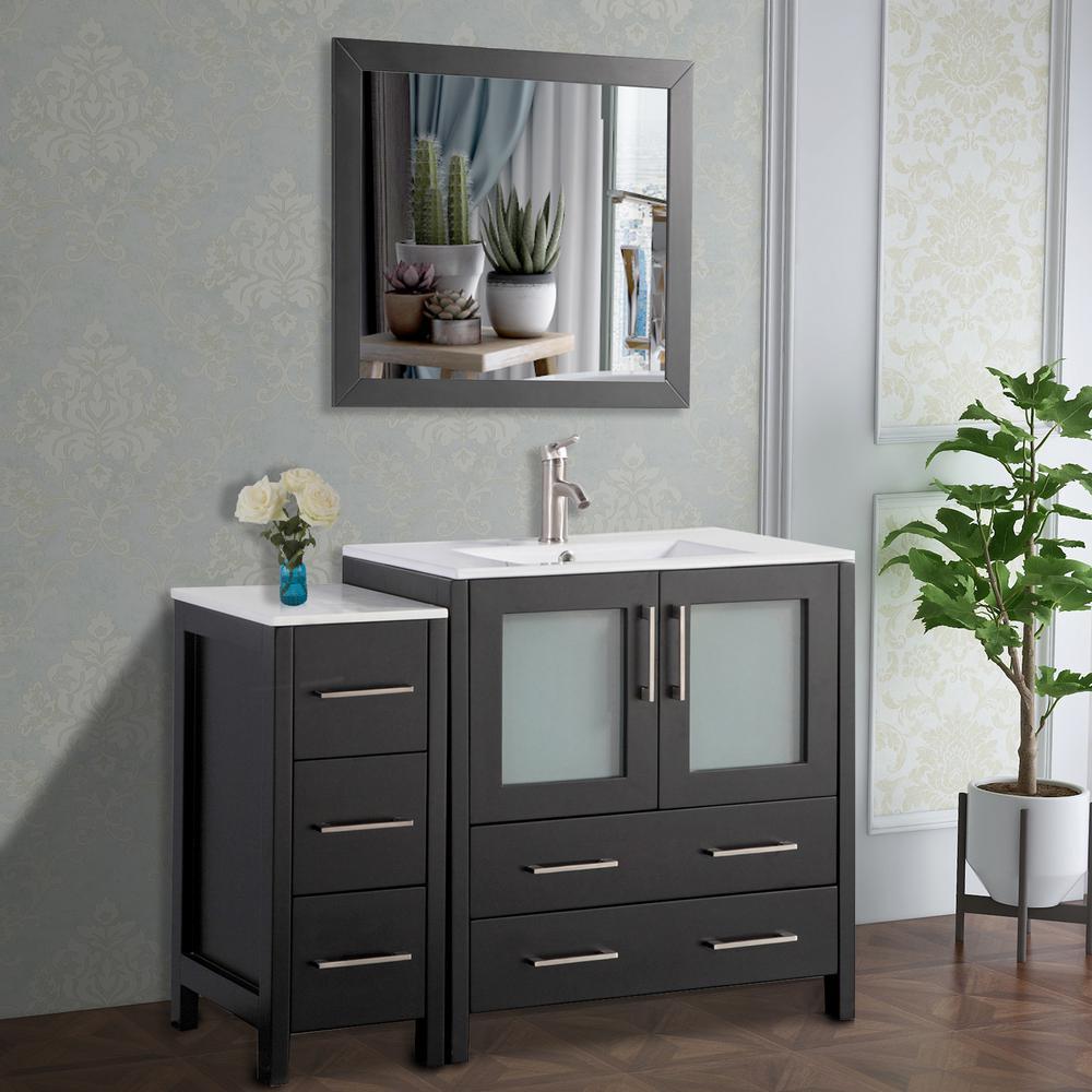 Vanity Art 42 in. W x 18 in. D x 36 in. H Bathroom Vanity in Espresso with Single Basin Vanity Top in White Ceramic and Mirror