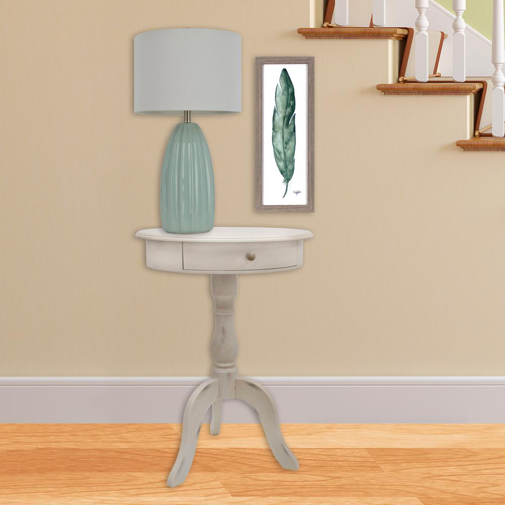 Decor Therapy Pedestal Antique White End Table With Drawer