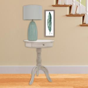 Decor Therapy Pedestal Antique White End Table with Drawer by Decor Therapy