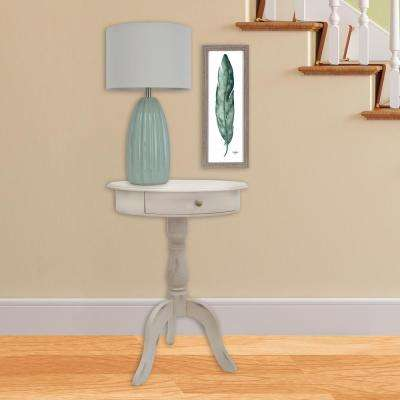 Pedestal Antique White End Table with Drawer