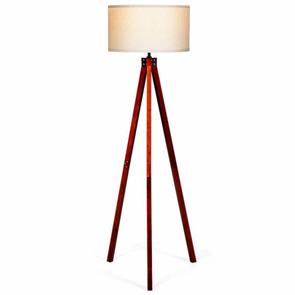 White And Red Wood Outdoor Floor Lamp