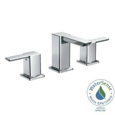 90-Degree 8 in. Widespread 2-Handle Mid-Arc Bathroom Faucet Trim Kit in Chrome (Valve Not Included)