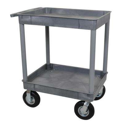 24 in. D x 32 in. W Tub 2-Shelf Utility Cart with 8 in. Casters
