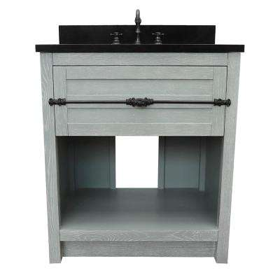 Plantation II 31 in. W x 22 in. D Bath Vanity in Gray with Granite Vanity Top in Black with White Oval Basin