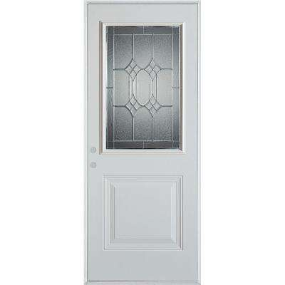 32 in. x 80 in. Orleans Patina 1/2 Lite 1-Panel Painted White Right-Hand Inswing Steel Prehung Front Door
