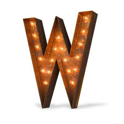 24 in. High Rusted Steel Alphabet Letter W Plug-In Marquee Lights