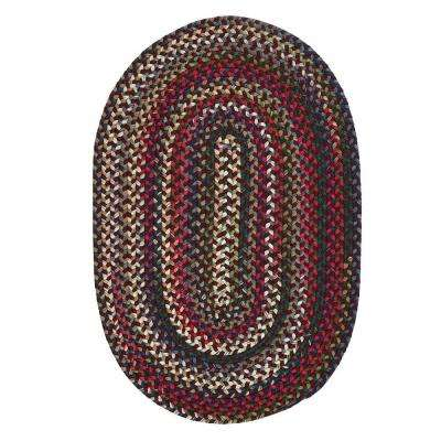 Chestnut Knoll Amber Red 7 ft. x 9 ft. Oval Braided Area Rug