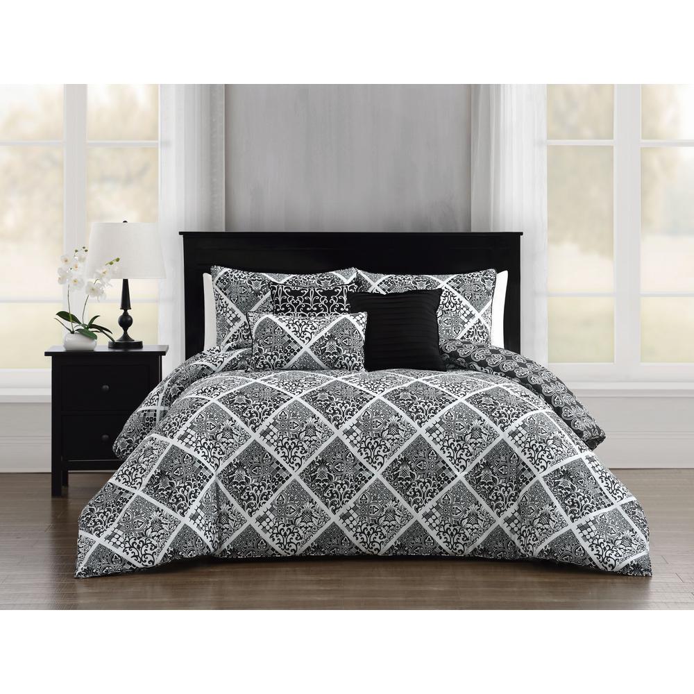 6 Piece Black White King Comforter Set