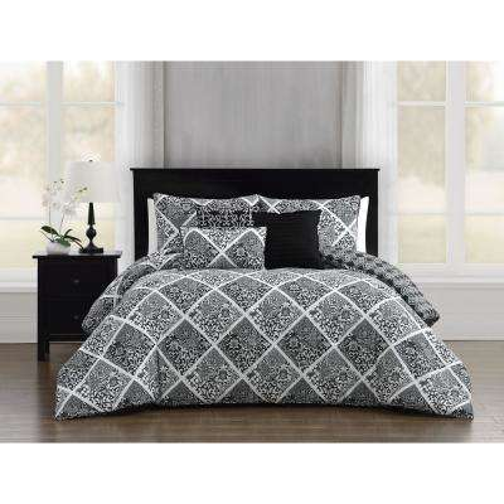 Luella 6-Piece Black/White Queen Comforter Set