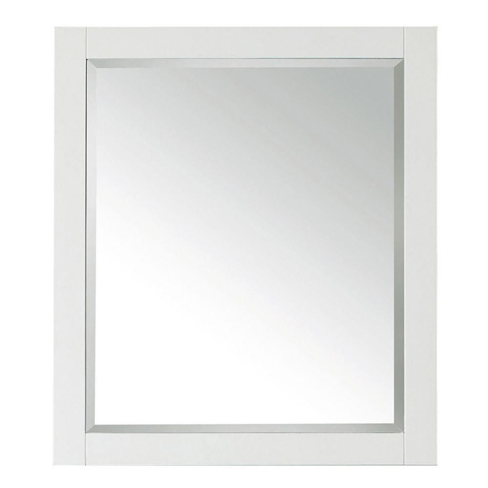 Transitional 28 in. W x 32 in. H Framed Rectangular Beveled Edge Bathroom Vanity Mirror in White