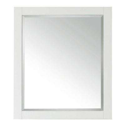 Transitional 32 in. L x 28 in. W Framed Wall Mirror in White