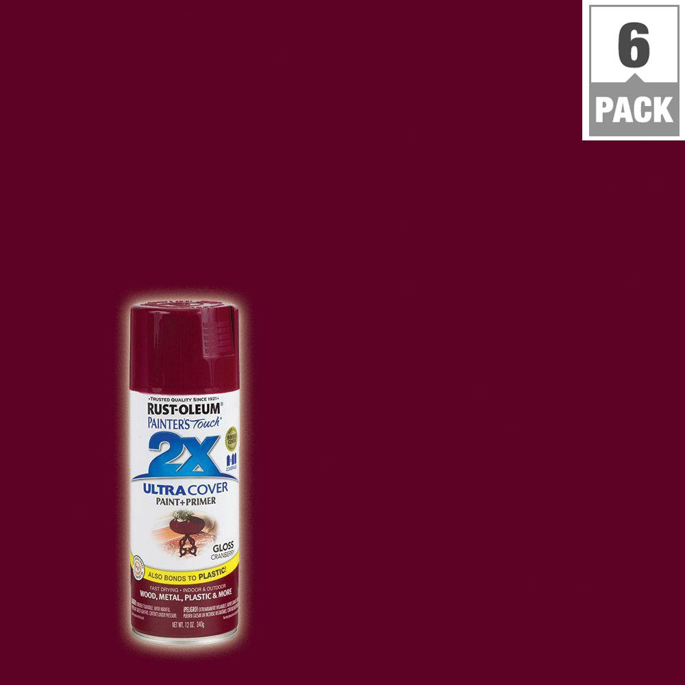 Rust-Oleum Painter's Touch 2X 12 oz. Cranberry Gloss General Purpose Spray Paint (6-Pack)