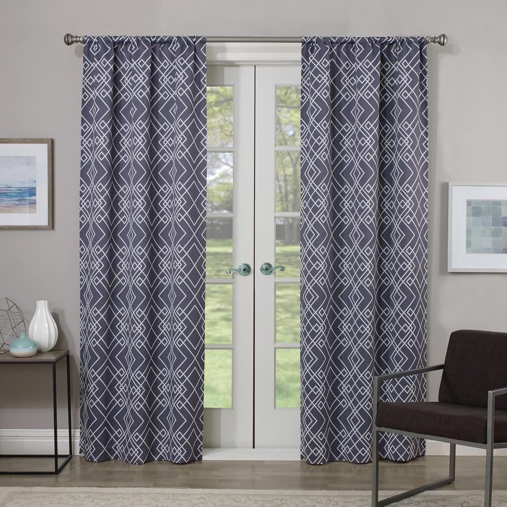 Eclipse Blackout Paloma 95 in. L Charcoal Rod Pocket Curtain