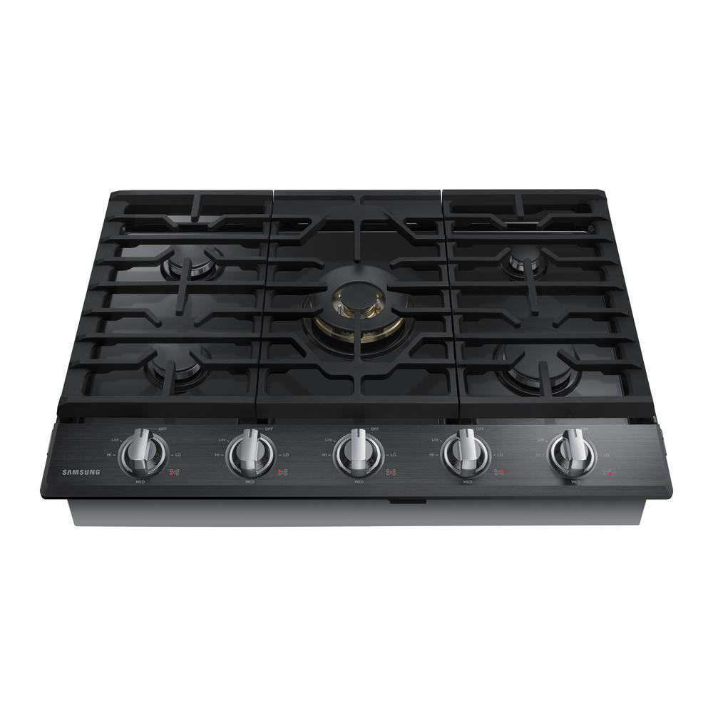 30 in. Gas Cooktop in Black Stainless Steel5 Burners including Dual