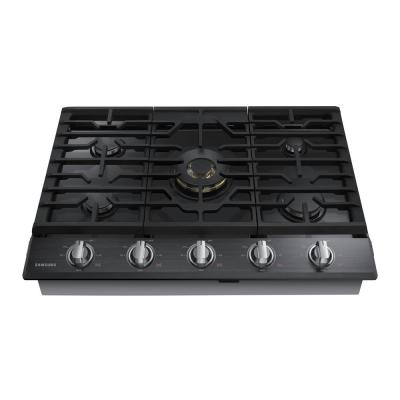 30 in. Gas Cooktop in Fingerprint Resistant Black Stainless with 5 Burners including Dual Brass Power Burner with