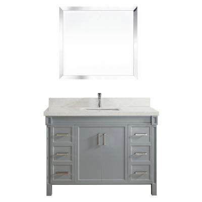 Serrano 48 in. W x 22 in. D Vanity in Oxford Gray with Engineered Vanity Top in White with White Basin and Mirror