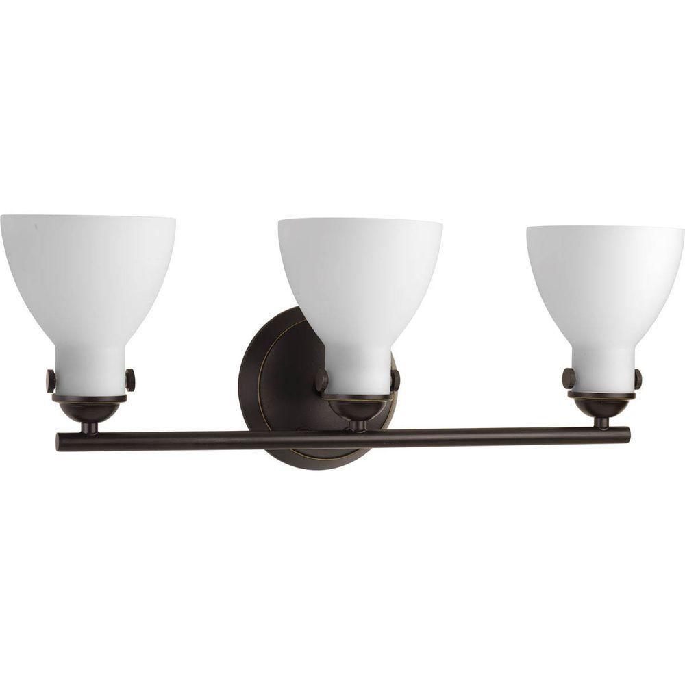 Progress Lighting Fuller Collection 3-Light Antique Bronze Bathroom Vanity Light with Glass Shades