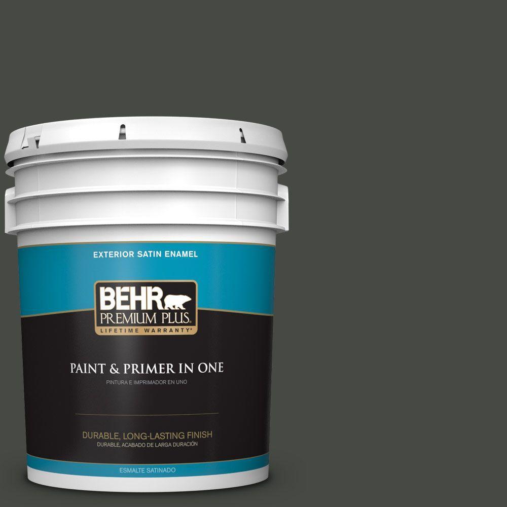 BEHR Premium Plus 5-gal. #710F-7 Black Swan Satin Enamel Exterior Paint