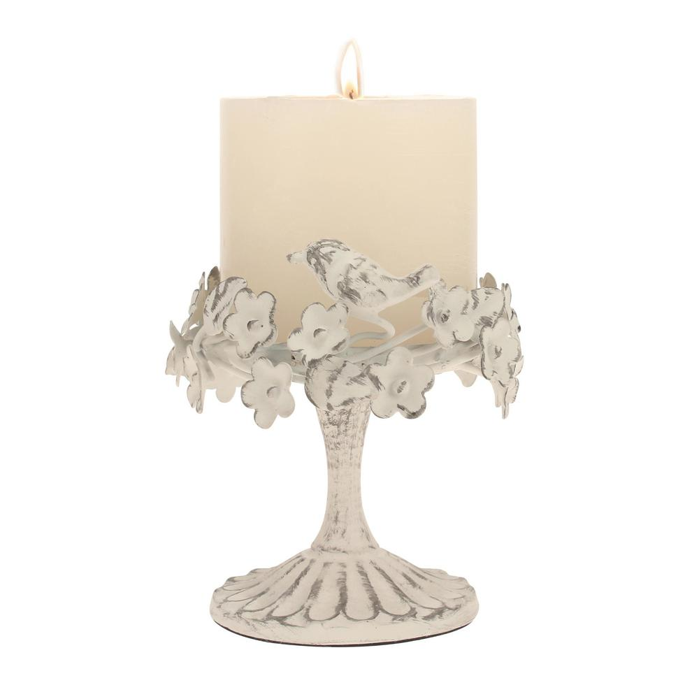 White Metal Pillar Candle Holders : Stonebriar collection worn white metal candle holder sb