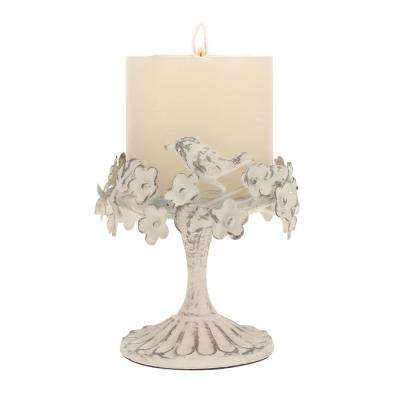 Worn White Metal Candle Holder