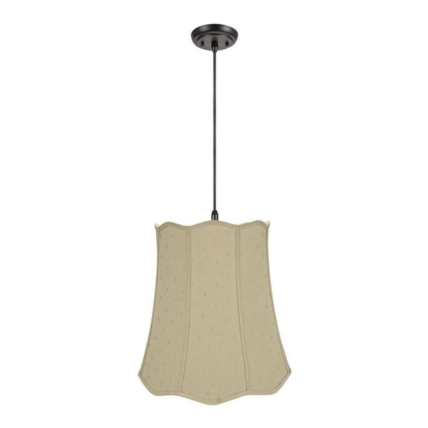 2-Light Oil Rubbed Bronze Pendant with Beige Scallop Bell Fabric Shade