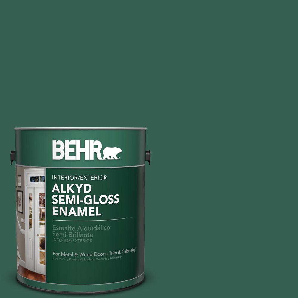 1 gal. #M430-7 Green Agate Semi-Gloss Enamel Alkyd Interior/Exterior Paint