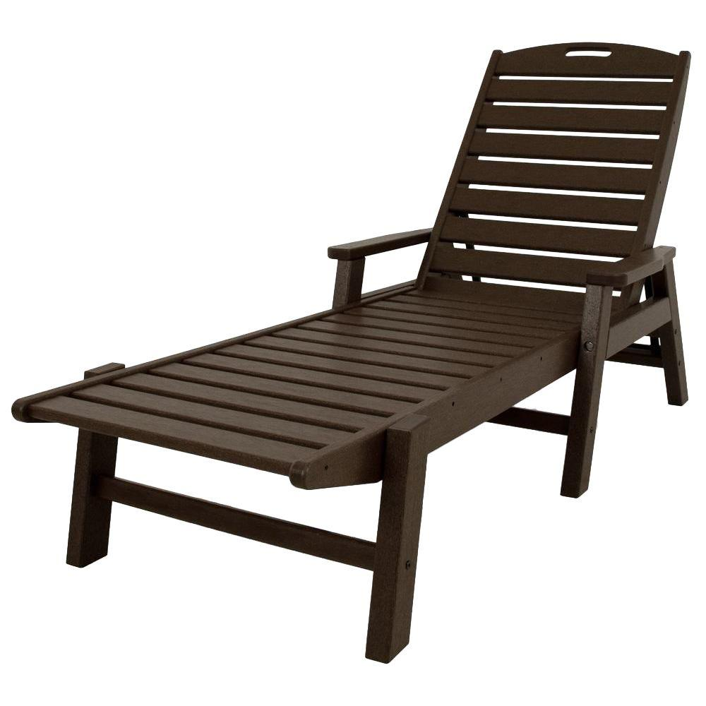 POLYWOOD Nautical Mahogany Stackable Plastic Outdoor Patio Chaise Lounge