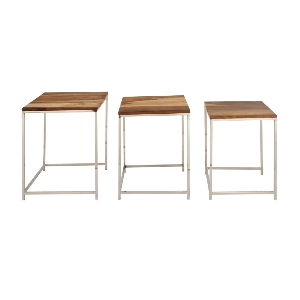 AMERICAN HOME FURN Wood and Stainless Steel Nesting Tables (Set of 3), Brown