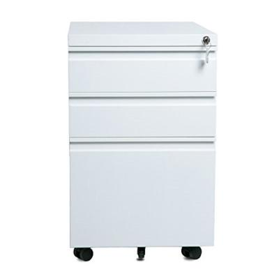 3- Drawers White Home Office Lockable File Cabinet Storage