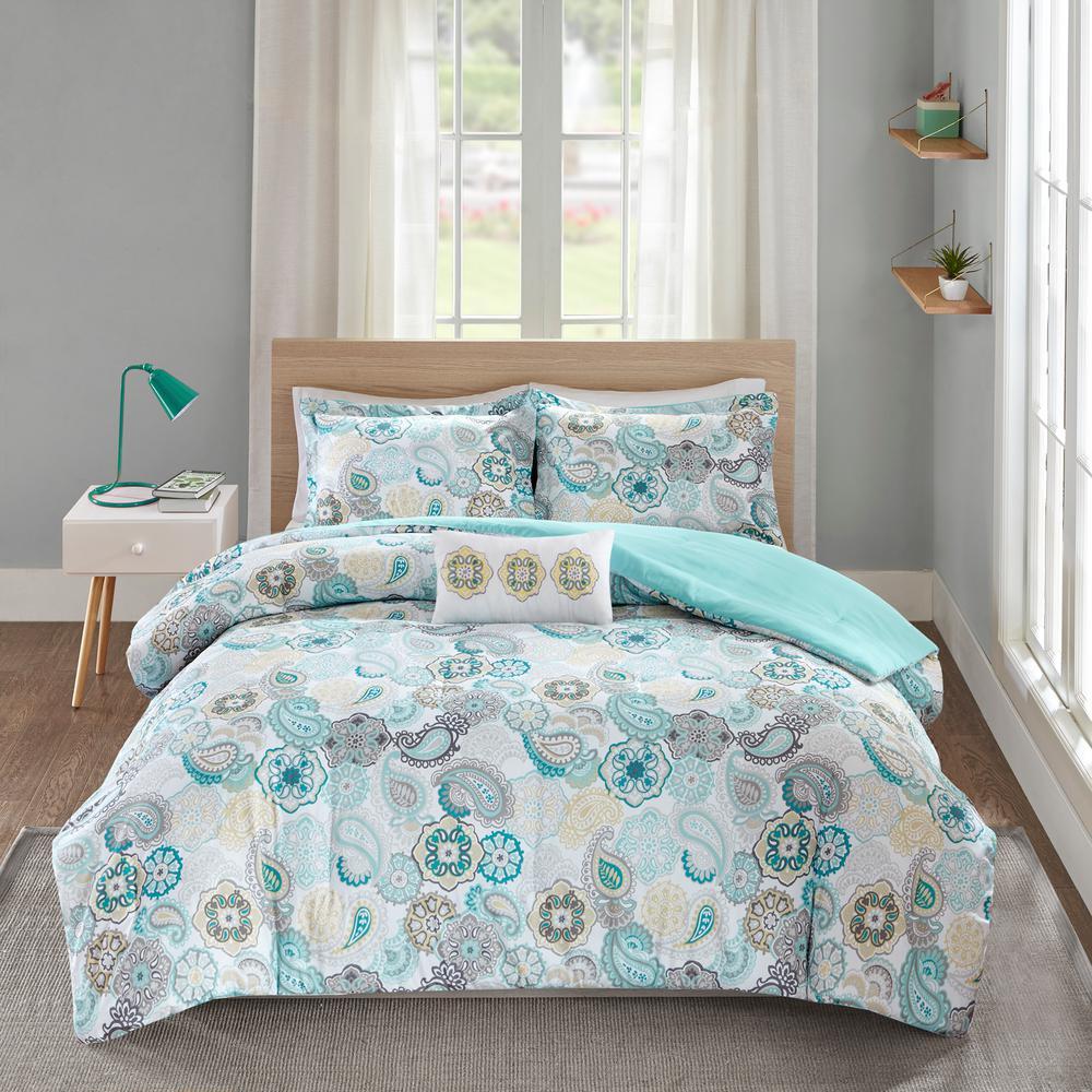 Asha 4-Piece Blue Full/Queen Comforter Set