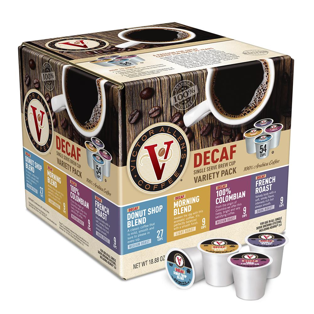 Victor Allen's Variety Pack Assorted Flavors Decaf Coffee Single Serve Cups  (54-Pack)