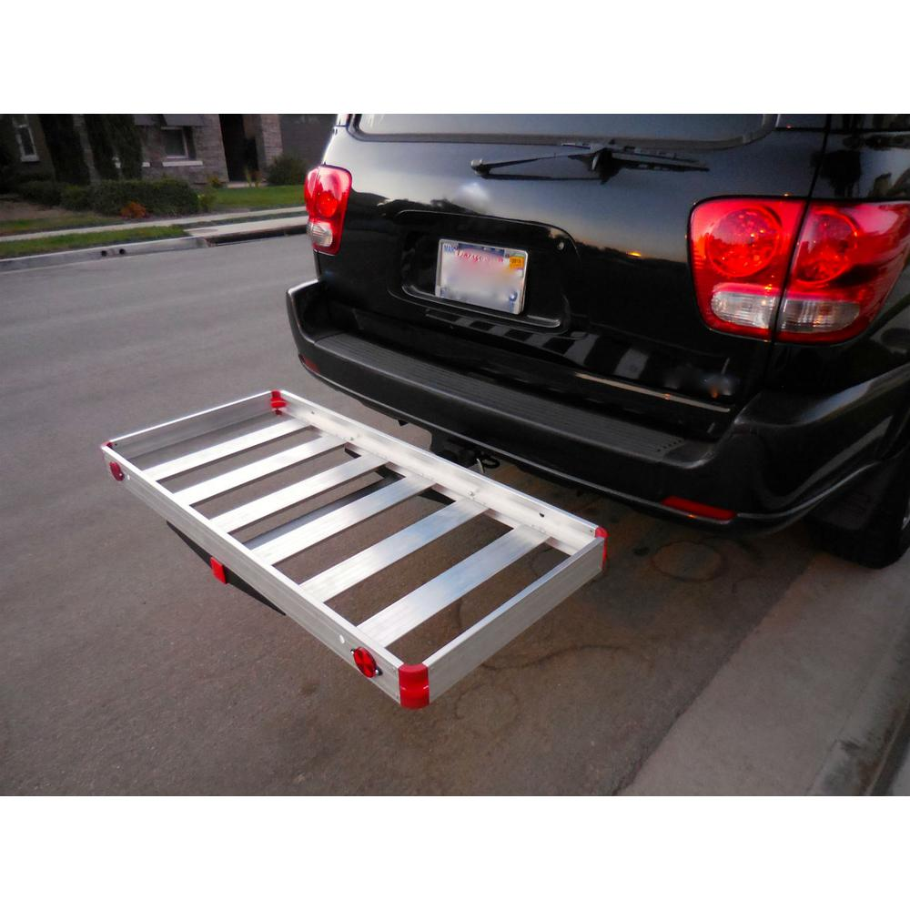MaxxHaul 500 lb. Capacity 48 inch x 21 inch Aluminum High Mount Compact Cargo Carrier for 2 inch Receiver