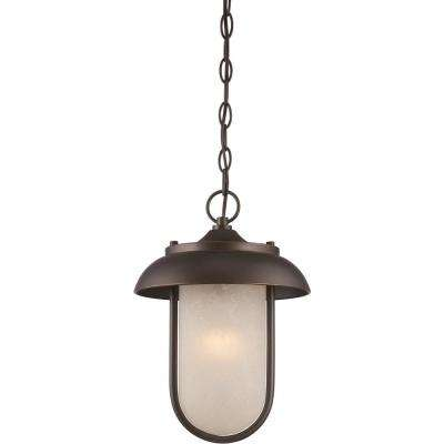 9.8-Watt Mahogany Bronze Integrated LED Outdoor Hanging Lantern