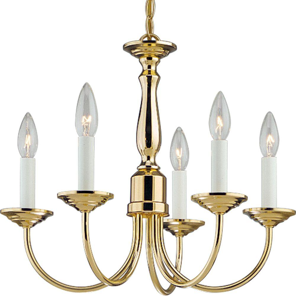 Progress Lighting 5 Light Polished Brass Chandelier