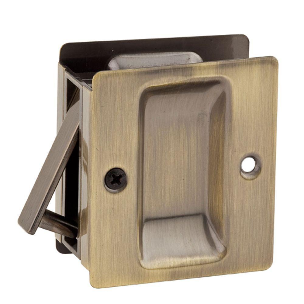 Kwikset Notch Antique Br Hall Closet Pocket Door Lock