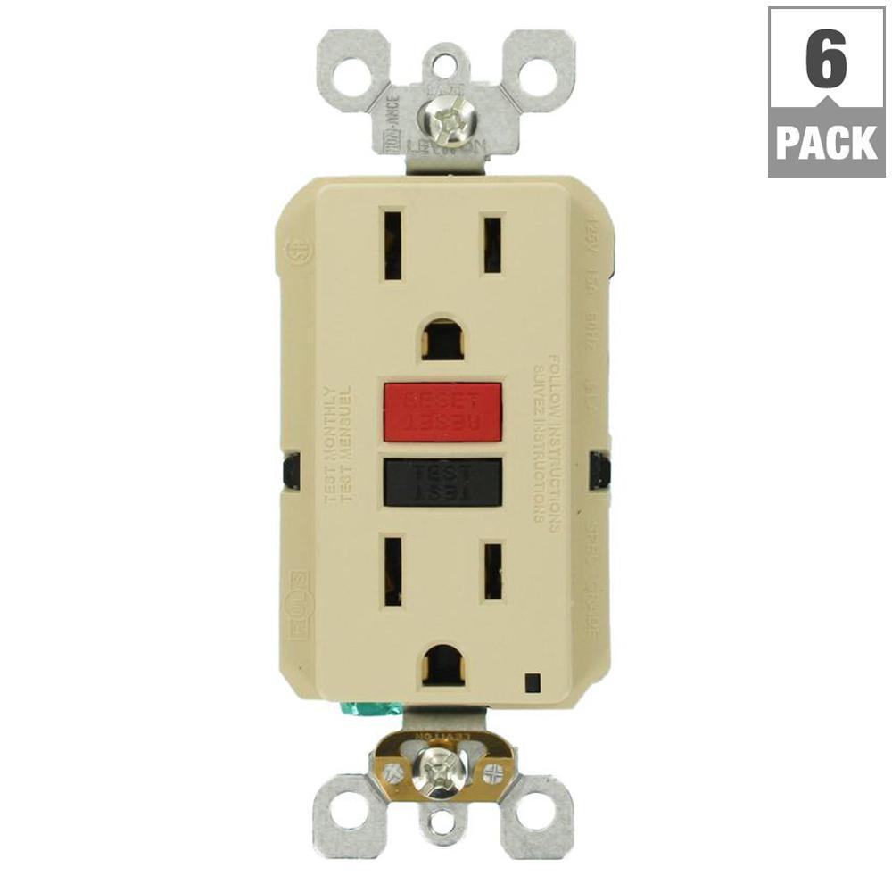15 Amp Self-Test SmartlockPro Slim Duplex GFCI Outlet, Ivory (6-Pack)