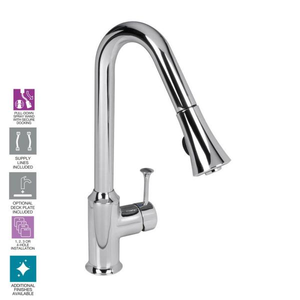 American Standard Pekoe Single Handle Pull Down Sprayer Kitchen Faucet 1 5 Gpm In Polished Chrome 4332300f15 002 The Home Depot