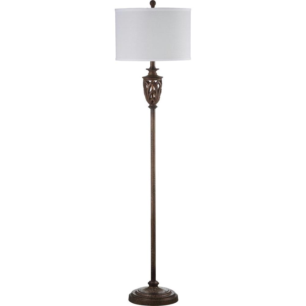 Safavieh Marion 61 in. Natural Floor Lamp with White Shade