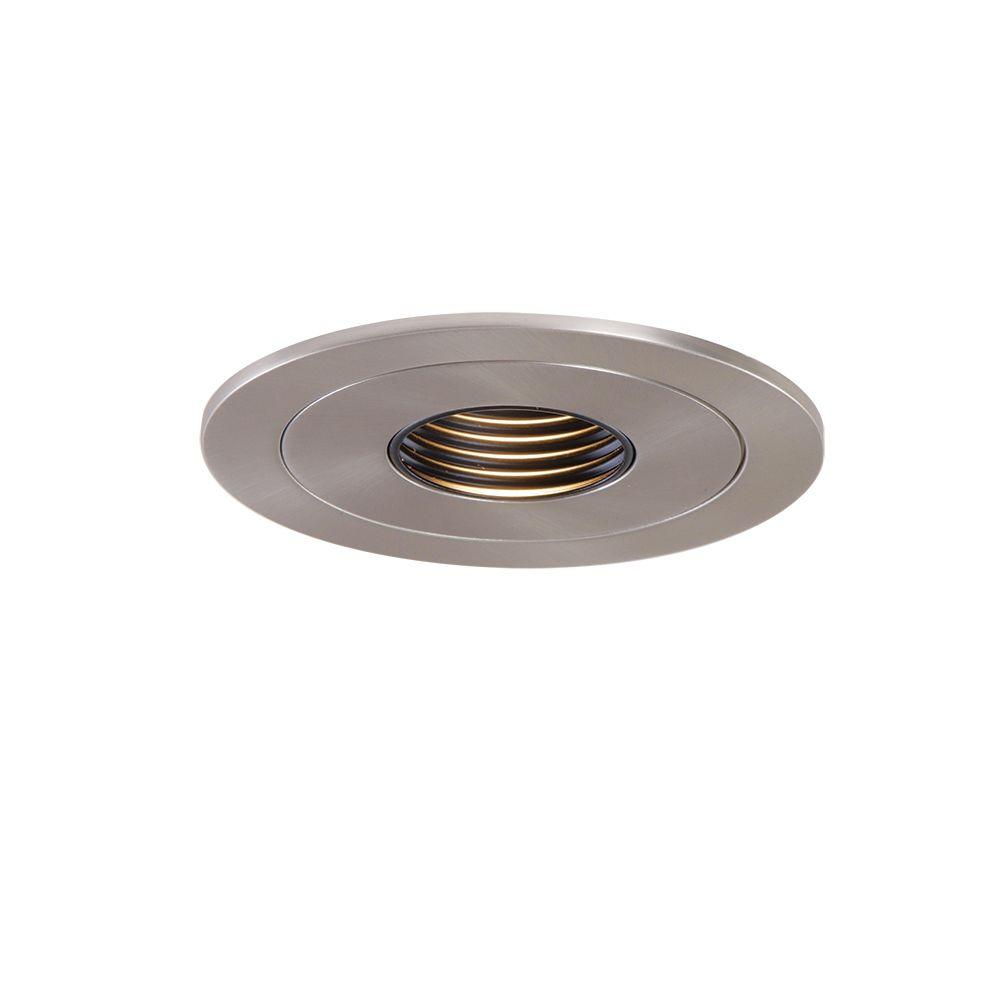 premium selection 66883 b5a35 Halo Low-Voltage 4 in. Satin Nickel Recessed Ceiling Light Pinhole Trim  with Black Baffle
